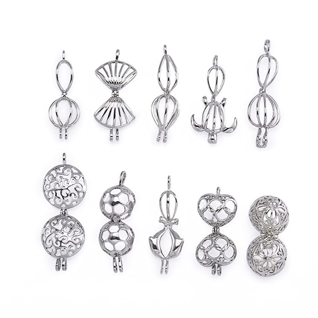 Yumei Jewelry Rhodium Plated Diffuser Locket Aromatherapy Essential Oil Pendant Cage Locket Pack of 10