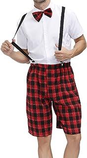 Mufeng Men School Uniform Cosplay Set Short Sleeve Shirt with Tie and Plaid Suspender Shorts Fancy Dress