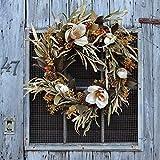Darby Creek Trading Blooming Fall Magnolia, Corn Husk, Gold Pinecone Front Door Estate Wreath