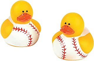 Fun Express - Mini Baseball Rubber Ducks for Party - Toys - Character Toys - Rubber Duckies - Party - 24 Pieces