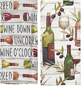 KayDeeDesigns Tuscan Wine Themed Kitchen Bar Towel Bundle of 2 Classic Absorbent Towels