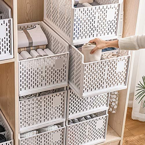 2 Pack Stackable Wardrobe Storage Box, Plastic Storage Organizer Detachable Shelves Drawers Baskets, for Kitchen Cabinet, Pantry, Closet, Bedroom, Bathroom Organization, White