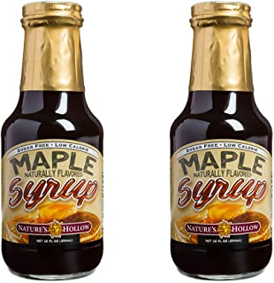 Nature's Hollow, Sugar-Free Maple Flavored Syrup, 10 Ounces Each, Non GMO, Keto Friendly, Vegan and Gluten Free - 2 Pack