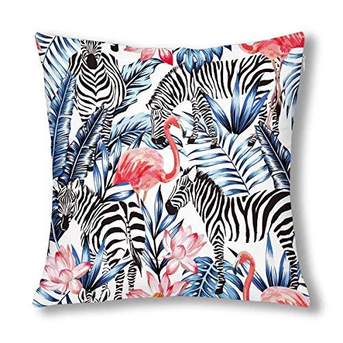 WXM - Federa copricuscino decorativa con motivo zebrato e fenicottero rosa su foglia tropicale, 45 x 45 cm, con cerniera quadrata