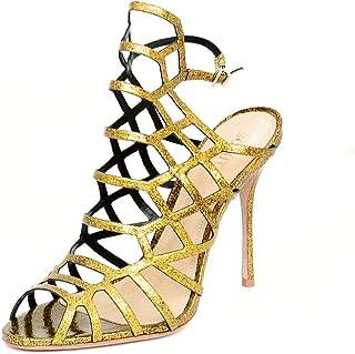 SCHUTZ Juliana Gold Glitter Patent Caged Pumps Sandals