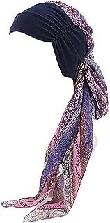 Gbateri Women Chiffon Headscarf Chemo Caps Headwear Turbans Magic Headscarves Long Tail Headwraps for Hair Loss