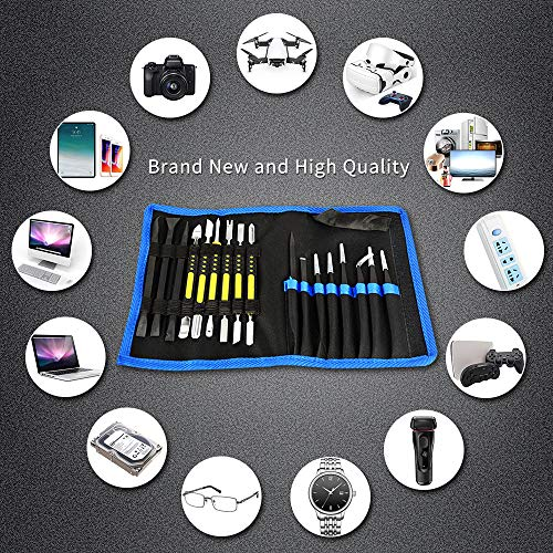 17 in 1 Electronics Repair Tools Opening Pry Tool Kit with Dual Ends Metal Spudgers and Black Tweezers for iPad Tablets Laptop Electronics Device Mobile Phone