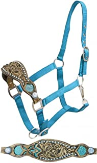 Showman Horse 2 Ply Teal Nylon Bronc Halter with Alligator Print Inlay and Painted Studs