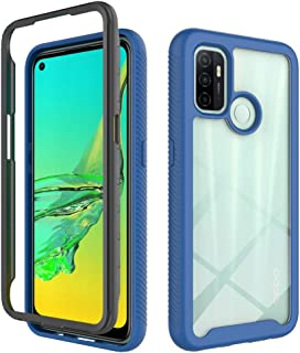 OPPO A53 Case, EabHulie Dual Layer Transparent Back Rugged Bumper No Slip Shockproof Full Body Protective Case Cover for O...