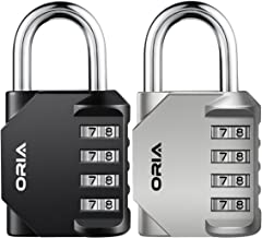 ORIA 4 Digit Combination Lock, 2 Pack Padlock for School, Employee, Gym & Sports Locker, Case, Toolbox, Fence, Hasp Cabinet & Storage