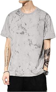 neveraway Men's Short-Sleeve Summer Floral Printed O-Neck Cotton Shirt Top