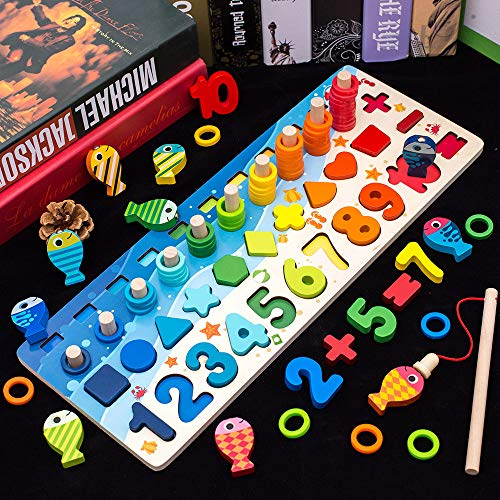 Wooden-Number-Puzzle-Sorting-Montessori-Toys-for-Toddlers-Shape-Sorter-Game-for-Age-2-3-4-5-Years-Old-Kids-4-in-1-Preschool-Education-Math-Stacking-Block-for-Kids