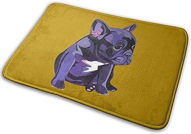 French Bulldog in Purple Carpet Non-Slip Welcome Front Doormat Entryway Carpet Washable Outdoor Indoor Mat Room Rug 15.7 X 23