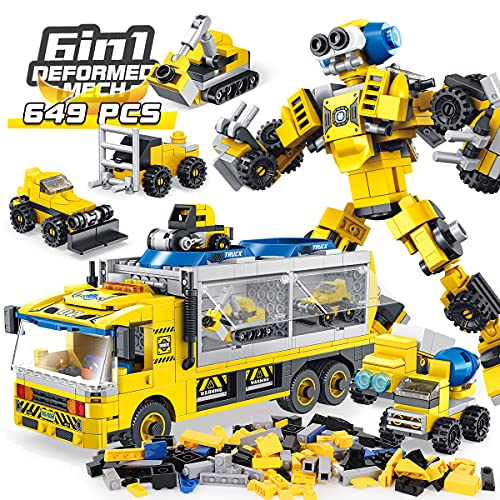 PANLOS STEM Robot Educational Learning Building Bricks Toy Carrier Truck Set Vehicles Gifts for Kids Boys and Girls Tight Fit and Compatible with All Major Brands (Yellow)-649PCS