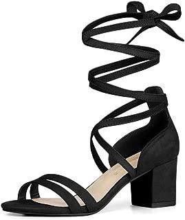Women's Open Toe Color Block Heel Lace Up Sandals