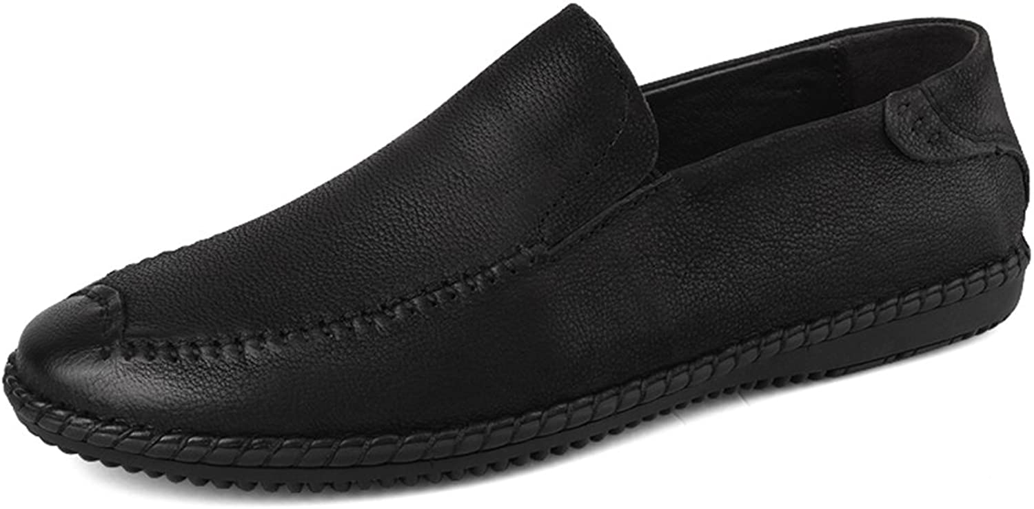 Men's shoes Casual Flat Loafers Leather Spring Fall Comfort Loafers & Slip-Ons Lazy shoes Black Brown