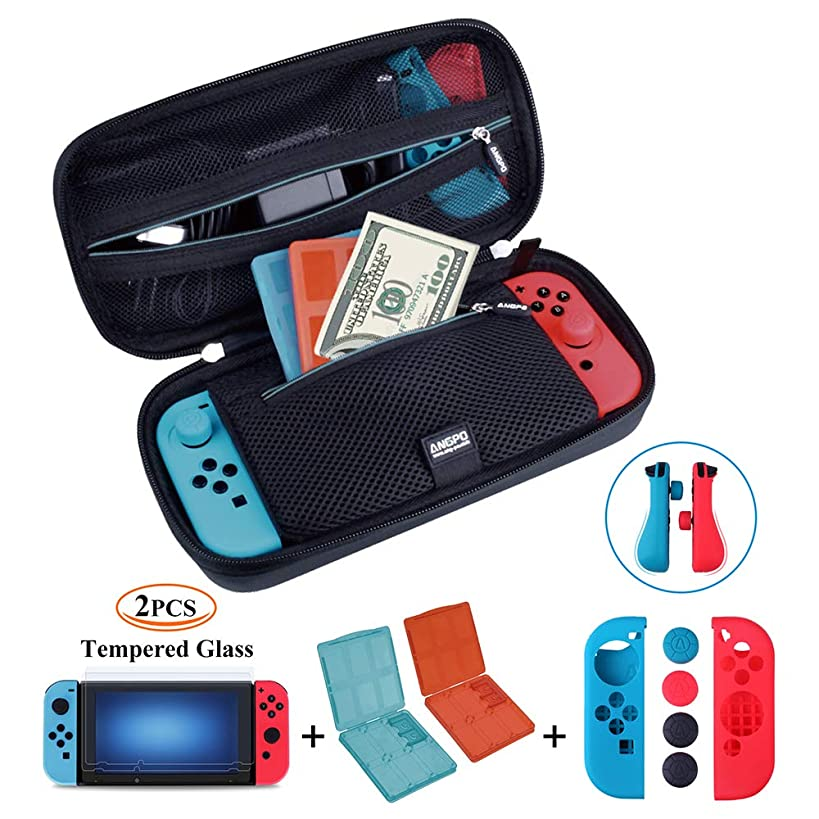 ANGPO for Nintendo Switch 4in1 Protector Kit,Hard Shell Travel Case/Joycon Grips Guards/2x HD Anti Glare Switch Screen Protector/2x Game Card and Micro SD Card Case (Oxford-Blue)