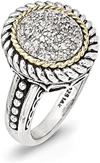 Sterling Silver With 14ct Antiqued Diamond Ring - Ring Size Options Range: L to P