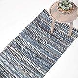 Homescapes Flickenteppich/Läufer aus recyceltem Jeansstoff/Denim, 66 x 200 cm, blau