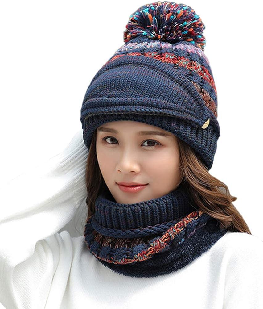 Women Winter Warm Knit Beanie Hat Skully Caps with Pompom Hat Scarf Mask Set