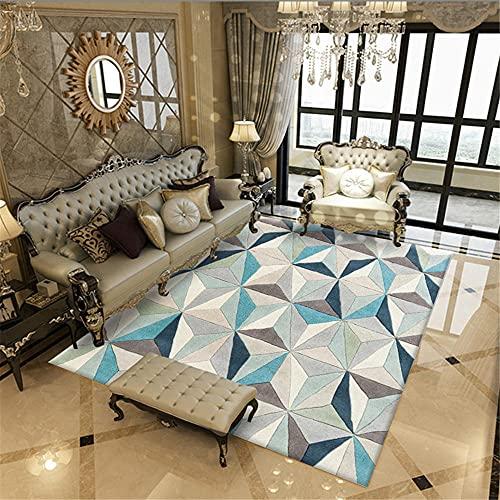 Alfombra alfombras Gateo Bebe Alfombra de salón con diseño de triángulo geométrico Crema Azul marrón Decoracion despacho 100*160cm