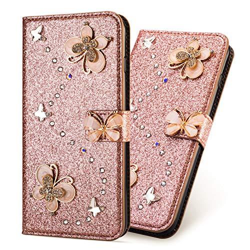 Ultra Mince Luxe Bling Glitter Sparkle Éclatant Strass Diamant Butterfly Motif Dragonne Stand Bookstyle Folio PU Cuir Flip Magnétique Cartes Slot Housse Coque pour iPhone XS iPhone X