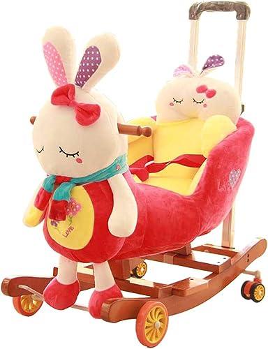 Cheval à bascule LINGZHIGAN pour Enfants Musique pour l'éducation préscolaire Chaise à Bascule Trojan Bébé Bébé Bascule Berceaux Cadeau de Jouets pour Enfants 58  45  50 cm