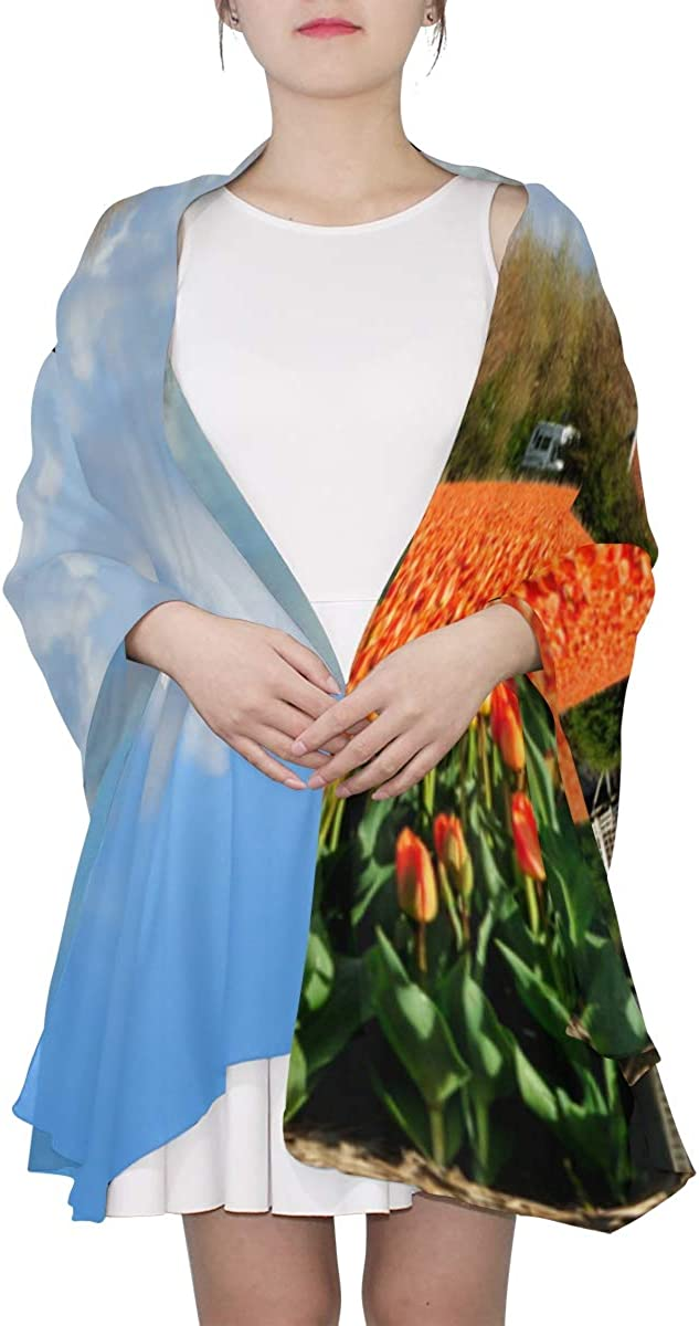 Tulips With Dutch Windmills Unique Fashion Scarf For Women Lightweight Fashion Fall Winter Print Scarves Shawl Wraps Gifts For Early Spring