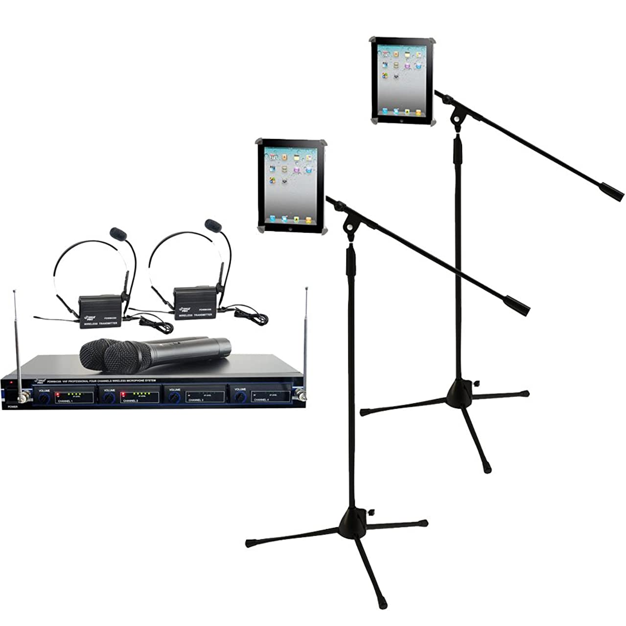 Pyle Mic and Stand Package - PDWM4300 4 Mic VHF Wireless Rack Mount Microphone System - x2 PMKSPAD1 Multimedia Microphone Stand With Adapter for iPad 2 (Adjustable for Compatibility w/iPad 1)