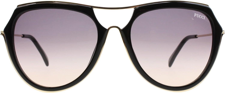 Emilio Pucci Women's Sunglasses EP0016 01B Shiny Black Gradient Smoke Lens 56mm