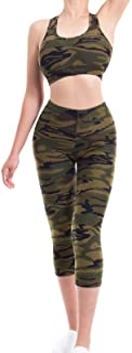 MixMatchy Women's Solid Racerback Yoga Workout Sports Bra Activewear Capri Set Green Camo SM