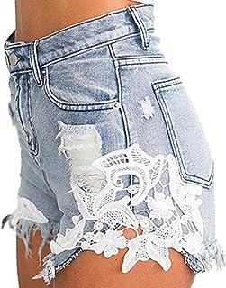 Mujeres de la Borla Pantalones Cortos de Mezclilla Encaje Sexy Flor Costura Jeans Estiramiento de Cintura Alta Corto elást...