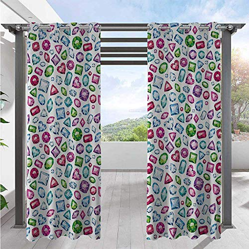 Outdoor Waterproof Curtain Heart and Geometrical Shaped Colorful Little Diamonds Precious Gemstones Crystals Pattern Outdoor Curtain Panel for Porch, Pergola, Cabana, Gazebo Multi W72 x L84 Inch