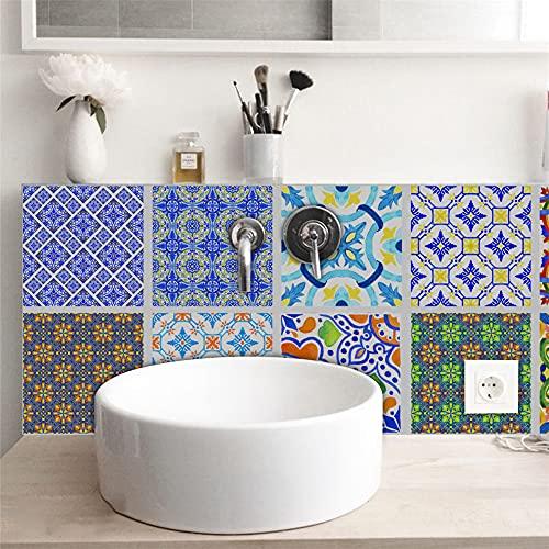 Azulejos de cocina, azulejos de vidrio brillante estilo portugués, azulejos duros, azulejos decorativos antiincrustantes de cocina y baño, 10 piezas de 20cm