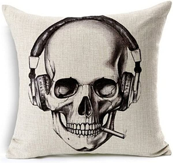 Halloween Gift Retro Sketch Skull Wearing Headphones Smoking A Cigarette Throw Pillow Case Personalized Cushion Cover NEW Home Office Decorative Square 18 X 18 Inches