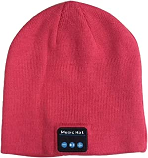 GLJJQMY Fashion Autumn and Winter Bluetooth Knit Warm Hat Stereo Bluetooth Earphone (Color : Pink, Size : OneSize)