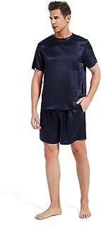 Mommesilk Silk Pyjamas Shorts Set for Men 100% Pure Real Mulberry 19 Momme Silk Sleepwear Sleep Nightwear Cool Summer Soft