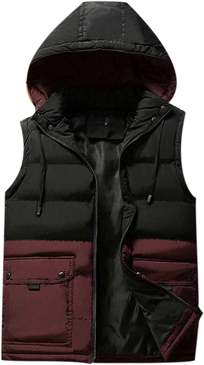 Uaneo Mens Casual Slim Sleeveless Colorblock Zipper Quilted Padded Puffy Hoodie Vest Jackets(Red-S)