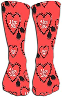 Outdoor Sports Men Women High Socks Stocking Heart Lace i Love You Lettering velentines Day Design Heart Lace i Love You Small Tile Length 19.7