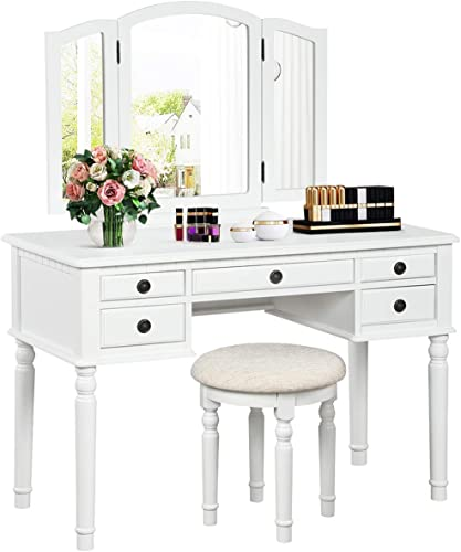 high quality CHARMAID Vanity Set with Tri-Folding Mirror and 5 Drawers, Modern Bedroom Vanity Table 2021 with popular Detachable Top and 180° Rotating Mirror, Makeup Dressing Table with Cushioned Stool for Women Girls (White) outlet online sale