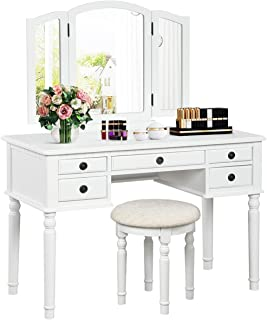 CHARMAID Vanity Set with Tri-Folding Mirror and 5 Drawers, Modern Bedroom Vanity Table with Detachable Top and 180° Rotati...
