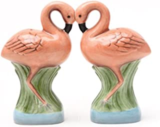 Pacific Trading Ceramic Magnetic Salt and Pepper Shaker Set - Flamingos They Kiss