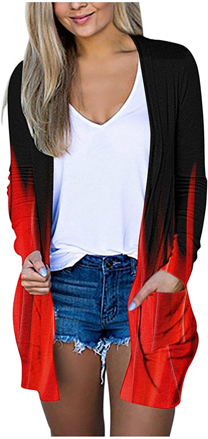 Cardigan Sweaters for Women, Women's Casual Long Sleeve Solid Open Front Soft Chunky Knit Sweater Cardigan Outerwear with Pockets