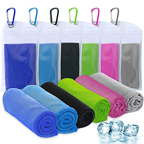 """Amgico Cooling Towel 6 Pack,(40""""x12"""") Cooling Towels for Neck and Face, Ice Towel Microfiber Towels,Instant Cool Towel Cold Towel Suit for Sports Gym Fitness Yoga Jogging Workout Enduring Running"""