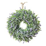 xiangshang shangmao Artificial Lavender Flower Wreath Door Hanging Garland Wedding Window Decor