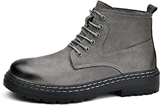 أحذية ركوب الترفيه للماء Motocycle Combat Boots for Men Round Toe Mid Top Lace Up Pull Tap Plain Genuine Leather Thick Rub...