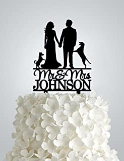 Wedding Cake Topper – Couple with 2 dogs