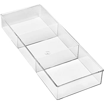 Whitmor 3 Section Small Easy Clean Clear Plastic Resin Drawer Organizer