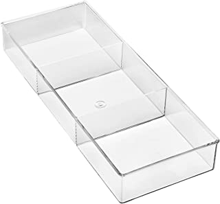 Whitmor 3 Section Small Drawer Organizer - Easy Clean Clear Plastic Resin