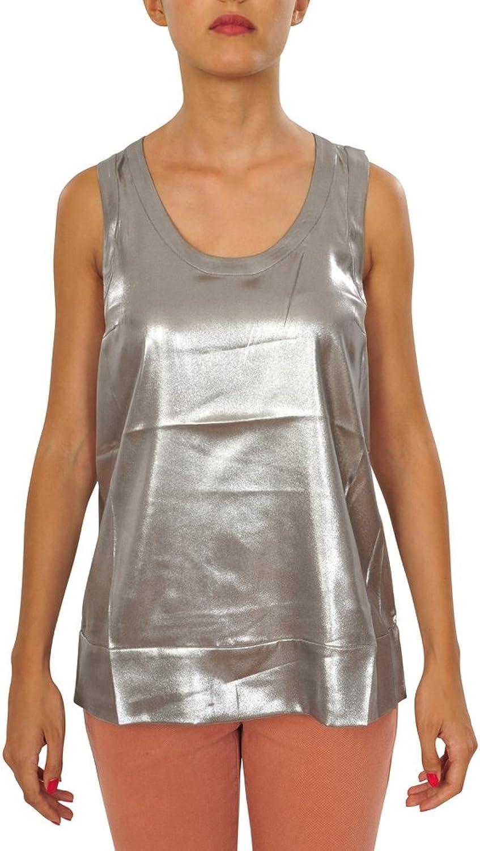 Brunello Cucinelli Top Women's Silver Regular Fit Silk Casual M IT